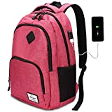 Oberhoffe Laptop Backpack Travel Backpack with USB Charging Port Anti Thief/Water Resistant College School Bookbag for Women Men Business Backpack Fit 15.6 inch Notebook (Pink)