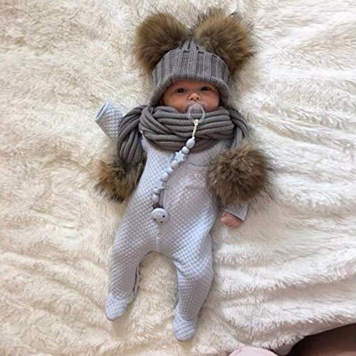 Zinniaya Wollmütze mit Fellball für Kinder im Winter, warm, weich, gehäkelt, Mütze, Schal, Fell, Pompons, Mütze