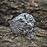 SDFASD Viking Symbol Sukll Anillo De Acero Inoxidable para Hombre Silver Ravens Anillos De Motorista Amuleto Nórdico Joyas 8