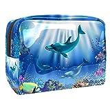 Kit de Maquillaje Neceser Delfines del Mundo Submarino Make Up Bolso de Cosméticos Portable Organizador Maletín para Maquillaje Maleta de Makeup Profesional 18.5x7.5x13cm