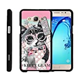 TurtleArmor   Compatible with Samsung Galaxy On5 Case   G550   G5500 [Slim Duo] Slim Lightweight Snap On 2 Piece Hard Cover Protector Matte Girls on Black - Hipster Cat