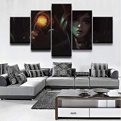 Cuadro en Lienzo Pintura Arte de la Pared Imagen Modular Decoración para el hogar Juego de 5 Piezas Bioshock Infinite Woman Poster Decoración Moderna Sala de Estar-Marco