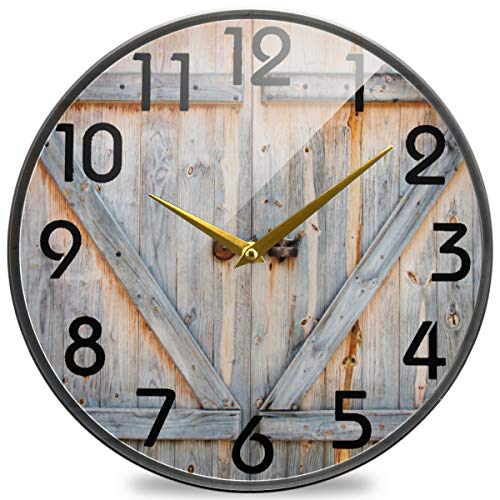 Naanle 3D Stylish Wooden Barn Door Print Retro Round Wall Clock, 9.5 Inch Silent Battery Operated Quartz Analog Quiet Desk Clock for Home,Office,School,Library