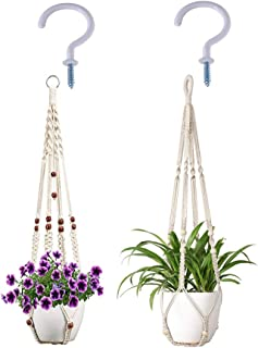 Macrame Plant Hanger Outdoor Flower Pot Holder Indoor Wall Mount Handmade Hanging Planter Net Basket Flower Pots Holder (Yellow)