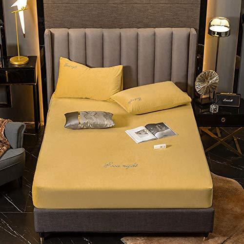 Funda de colchón,Sábanas Ajustadas Bordadas de Color sólido cálido de Invierno de Terciopelo de Cristal, Protector de colchón Extra Profundo de Terciopelo Coral-Yellow_120 * 200 + 30cm