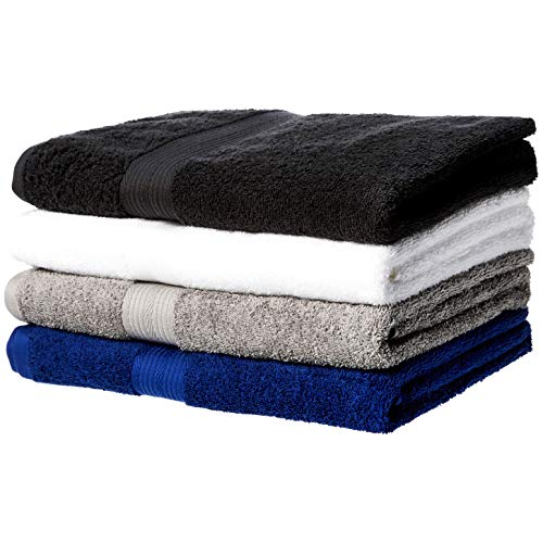 Amazon Basics Fade-Resistant Cotton Bath Towel - 4-Pack, Multi-Color (Black, White, Grey, Navy Blue)