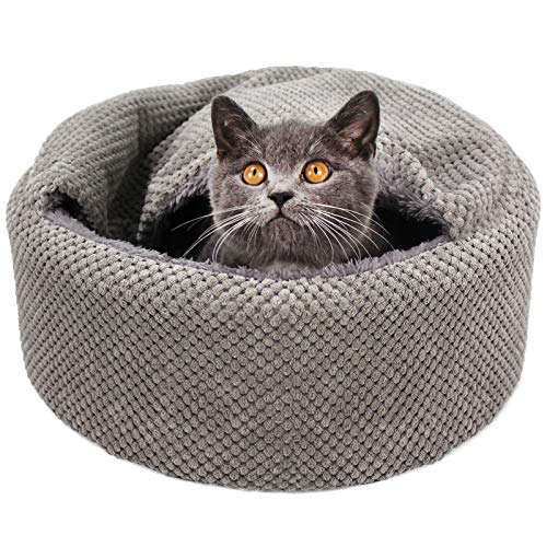 cat beds Winsterch Washable Warming Cat Bed House, Round Soft Cat Beds,Pet Sofa Kitten Bed, Small Pet Beds (Gray)