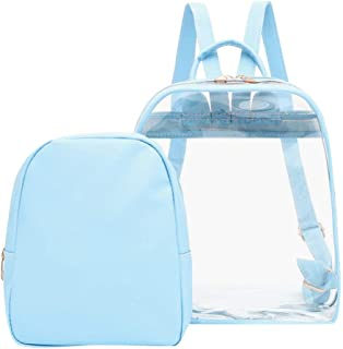 Wultia - Transparent PVC Backpack Women Bookbag Candy Clear Jelly Women Travel Purse Crystal Beach Bag Portable Women Jelly Bags #G8 Blue