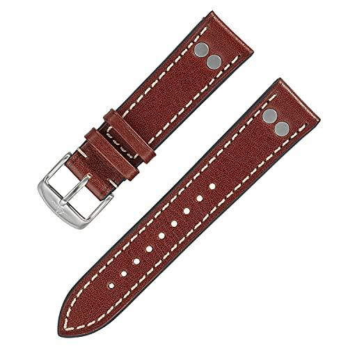 Laco Reloj de aviador con correa de cuero – XL 20 mm – 20,5 cm de largo – Remaches – Correa de repuesto – Calidad única – Acabado excepcional