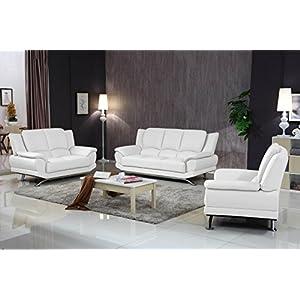 Matisse Milano Contemporary White Leather Sofa Set 9