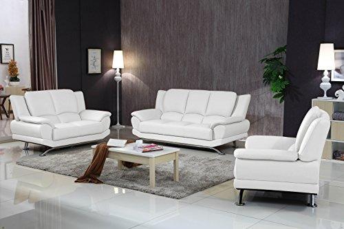 Matisse Milano Contemporary White Leather Sofa Set 1