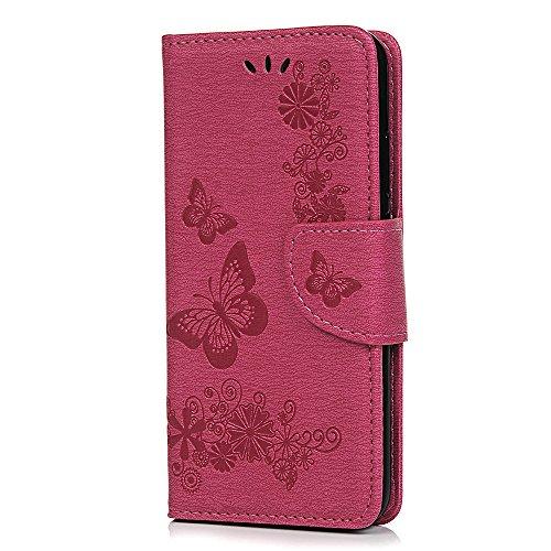 Reevermap Hülle für Samsung Galaxy A21S Handyhülle Hülle Ledertasche Flip Case Schmetterling Cover Handytasche Klapphülle Magnetisch Flip Bumper Schutzhülle für Samsung Galaxy A21S, Rosenrot