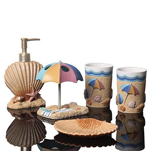 Dispensadoras de jabón Estilo mediterráneo Conjuntos de baño Accesorios 5PCS Incluye cepillo de dientes titular, Jabonera, botella de loción, Copa enjuague bucal, niños dispensador de jabón for baño S