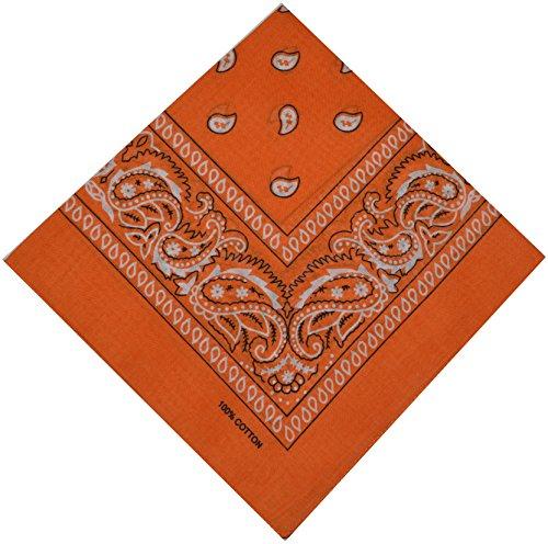 Bandana Halstuch Biker Nikki Tuch Schal Paisley Kopftuch 100% Baumwolle 25 Farben (Orange)