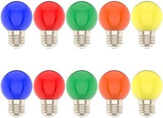 10*Bombillas Colores Led E27 1W Para la Boda del Partido de Navidad de Halloween Bar Mood Ambiente Decoración(Color Múltiple)