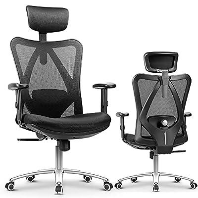 🔴 Silla de Oficina Ergonomica Ajustable Multifuncional: El reposacabezas de la silla de oficina ergonomica se puede girar en varias dimensiones para proteger la columna cervical. Los reposabrazos de la silla ergonómica se puede ajustar 5 cm hacia arr...