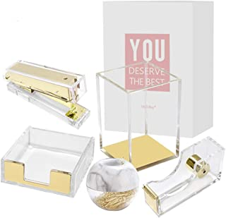 Clear Acrylic Office Supplies Gold Desk Organizer Set Tape Dispenser Stapler Sticky Notes Tray Magnetic Paper Clips Dispen...
