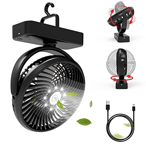 Xumemall USB Portable Fan, 10000 mAh Rechargeable Personal Fan, Camping Fan Built-in Hanging Hook and LED Light, Emergency Kit for Office, Camping, Hiking, Fishing, Tent, Car RV