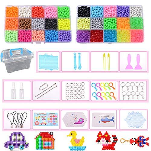 Queta Wasserperlen Aqua Beads Bastelset Wasser Handwerk Wasser Sticky Perlen Spielzeug Nachfüllset für Kinder DIY Crafting Zubehör mit Kristallperlen (30 Farben, 4800 Perlen)