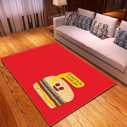 QWFDAQ alfombras Baratas Hamburguesa Creativa roja alfombras 160 x 230 cm Alfombra...
