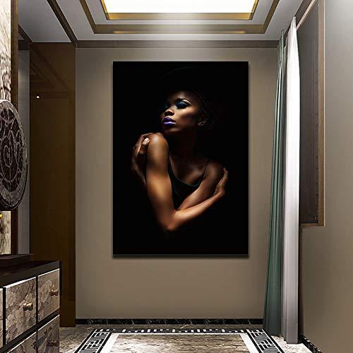 Wxuuly Decoración del hogar Lienzo Impresiones en HD Mujer Africana Negra Estilo nórdico Póster Pintura Sala de Estar Creativa Arte de la Pared Cuadro Modular A5 70x105CM (Sin Marco)