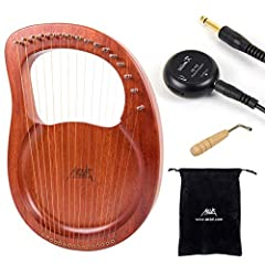 MAHOGANY LYRE HARP: Aklot lyre harp carved from a piece of Mahogany, high hardness and density wood is strong enough to keep it in tone and avoid the string force into the wood. The instrument is warm voiced with a pleasant tone. 16 STEEL STRINGS: Th...