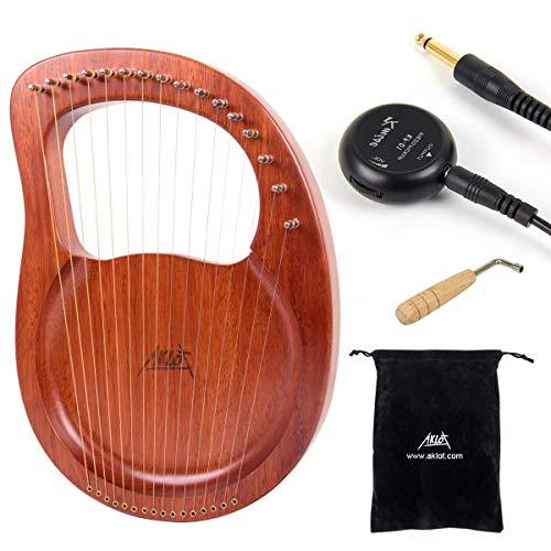 Lyre Harfe, Aklot 16 Metallsaiten Knochen Sattel Mahagoni Lye Harp mit Stimmschlüssel und schwarzer Gigbag