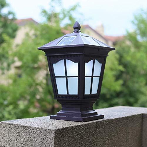 DFJU Candeeiro de coluna de energia Solar à Prova de água, lanterna de vidro Tradicional Candeeiro de Mesa de alumínio para Exterior em alumínio, Villa de jardim com vedação Retro