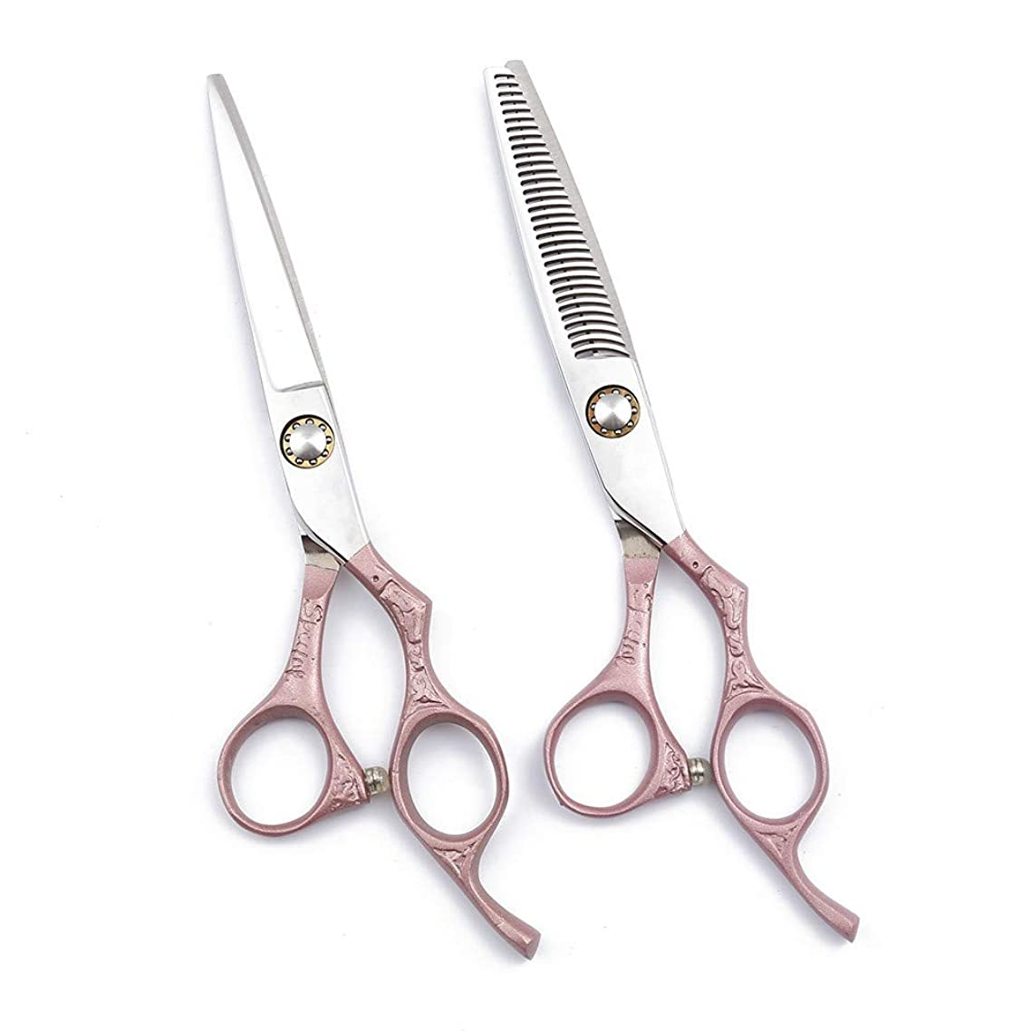 TAOUN Hairdressing Scissor Set Pink 6.0 Inch Personality Hairdressing Cutting Scissors/Thinning Shears for Salon Barber or Home