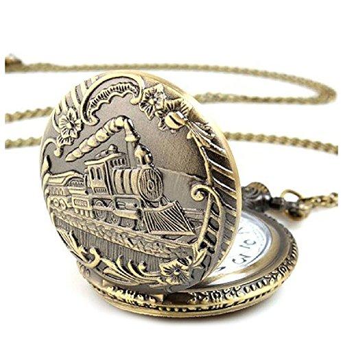 Entrenar Reloj de Bolsillo - SODIAL(R) Unisexo Antiguo Vintage Caja de Laton Locomotora Cadena Reloj de Bolsillo Entrenar Bronce