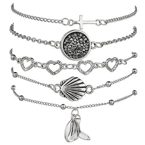 Bracelets de perles pour femmes - Bracelet superposé ajustable en pendentifs avec breloques pour femmes Fille cadeau d'amitié Rose Bracelet en quartz rose