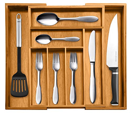 Top Rated Bellemain 100% Pure Bamboo Expandable, Utensil - Cutlery and Utility Drawer Organizer-(8 compartment) 2 Year Warranty