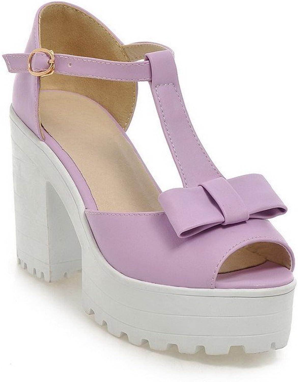 WeenFashion Women's Solid Pu High Heels Peep-Toe Buckle Sandals