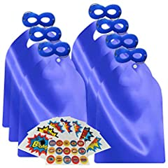 INCLUDES - Capes and Masks as every picture shows. The Capes are made from satin without printing any logo. It feels silky and comfortable. The mask with elastic ensures a snug but not too tight fit IRON The capes before using it due to the fold pack...