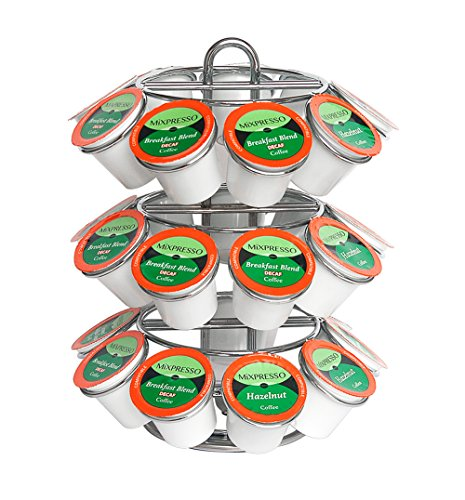 Mixpresso K-Cup Holder   Strong Spinning Carousel Coffee K Cups   Holds 27 K Cup Coffee Pods