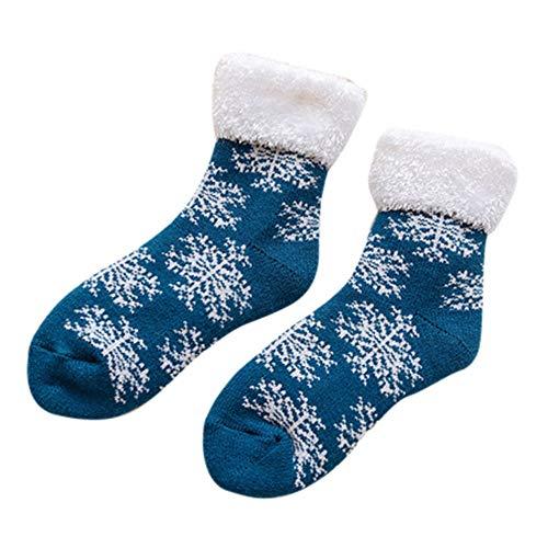 ZZBO Damensocken Wärmende Frotteesocken Weihnachtsstrumpf Flip Cuff Schneeflocke Gedruckte Mittlere Strümpfe Niedliche Mid-Calf Crew Socks Freizeit BequemThermo Socken