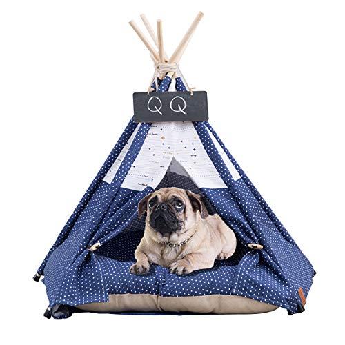 GreeSuit Mascotas Tienda de campaña para Perros Tipi Rayas Patrón de Cebra Tiendas de campaña para Gatos Lavables extraíbles Casa de Juegos para Perros y Gatos Casa Tipi con cojín y Pizarra