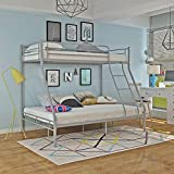 Storeinuk Triple 3 Sleeper Metal Bunk Bed Top Single Bed Bottom Double Bed for Children Kids Bedroom