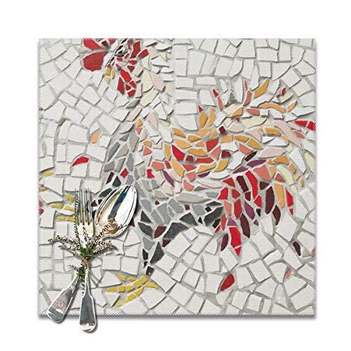 Houity Creatieve Kleurrijke Haan Mozaïek Achtergrond Wasbaar Zacht Voor Keuken Diner Tafel MatPlacemats, Makkelijk Te Reinig Handige Opvouwbare Opslag Placemat 12x12 Inch Set Van 6