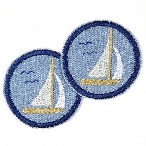 Bügelflicken rund Segelboot Flicken zum aufbügeln ø 5cm Jeans hellblau Set 2 Aufbügler maritime Bügelbilder Segelschiffe für Erwachsene gestickte Applikationen