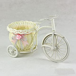 Motorcycle Design Tricycle White Flower Basket Plastic Flower Plant Wedding Container for House Decoration