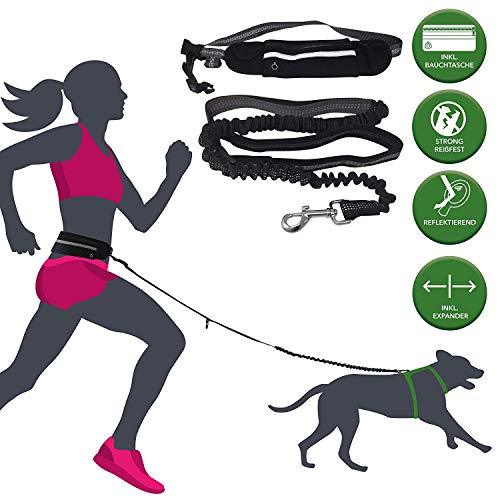 Barf-alarm jogginglijn honden met buikriem incl. tas – 180 cm reflecterende vrijhandelslijn – taille hondenriem handsfree voor het lopen en joggen