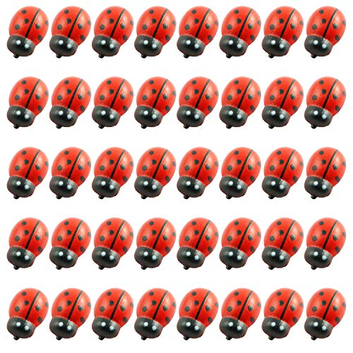 Tegg Wooden Ladybug Sticker 100PCS 3D Tiny Red Ladybird Flatback Self Adhesive Embellishment for Card Scrapbooking DIY Decoration