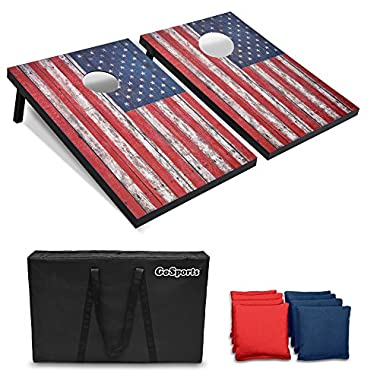GoSports American Flag Cornhole Set with Weathered Wood Plank Design – Includes Two 3' x 2' Boards, 8 Bean Bags, Carrying Case and Game Rules