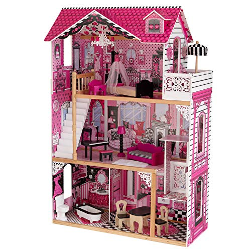 KidKraft 65093 Casa delle Bambole Amelia in Legno adatta per Bambole di 30 cm, 15 Accessori Inclusi, 3 Livelli di Gioco, 3 + anni
