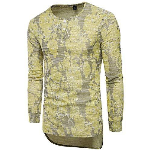 MENHG Men's Crew Neck Casual Fashion Jacquard Embroidery Lightweight Breathable Knitted African Irregular Hem T-shirt Men Long Sleeve Hawaiian Shirts Blouse Pullover Jumper Sweatshirt Tops Outwear