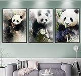 Pintura sin Marco 3 Pintura al óleo Panda Animal Pintura Decorativa impresión Foto Arte de la Pared combinación sin marcoZGQ4233 50X75cmx3