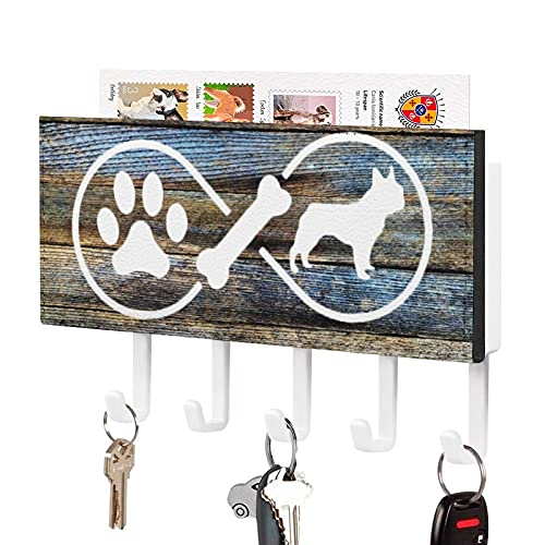 ArogGeld Frenchie Infinity Self Adhesive Key Holder,Key Hooks Organizer for Wall with Mail Holder,Rustic Key Hangers Home Decorative for Farmhouse Entryroom Mudroom Hallway Kitchen Office Garage