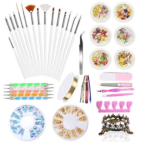 Kalolary Nail Art Tools Kit de décoration, 3D Nail Art Supplies Nail Art Strass Studs, Nail Painting Dotting Brushes Pens, Nail Pen Holder, Nail Striping