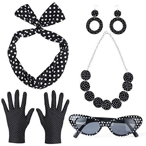Haichen 50's vrouwen kostuum accessoires set Polka Dot Bandana stropdas hoofdband oorbellen ketting handschoenen Vintage Cat Eye zonnebril (Zwart)